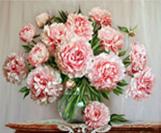 קנווס לצביעה - זר פרחים ורוד